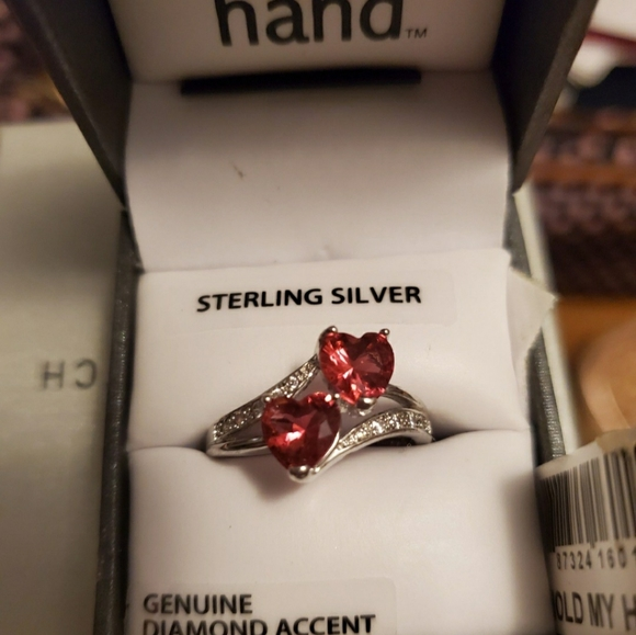 S925 Sterling silver double heart ring